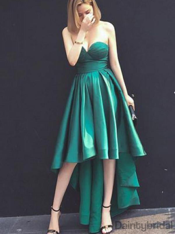 Charming High-Low Satin Sweetheart Neck Evening Prom Dresses.DB10126