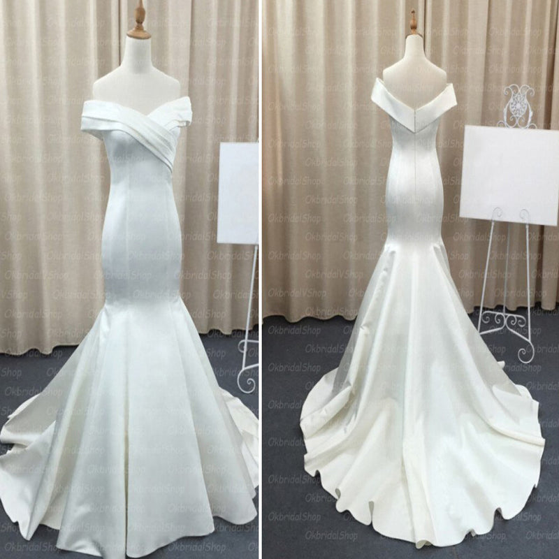 Mermaid Stain Ivory Simple Charming Elegant Cheap Wedding Dresses Bridal Gown, WD0154