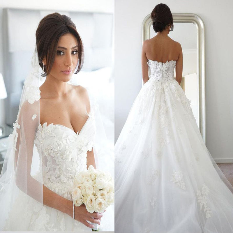 New Arrival Strapless Sweetheart Lace Appliques Charming Elegant Hot Sale Wedding Dresses. WD0175