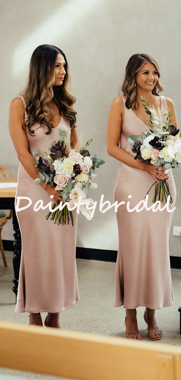 Charming V-neck Sleeveless Simple Evening Dresses Bridesmaid Dresses. DB10723