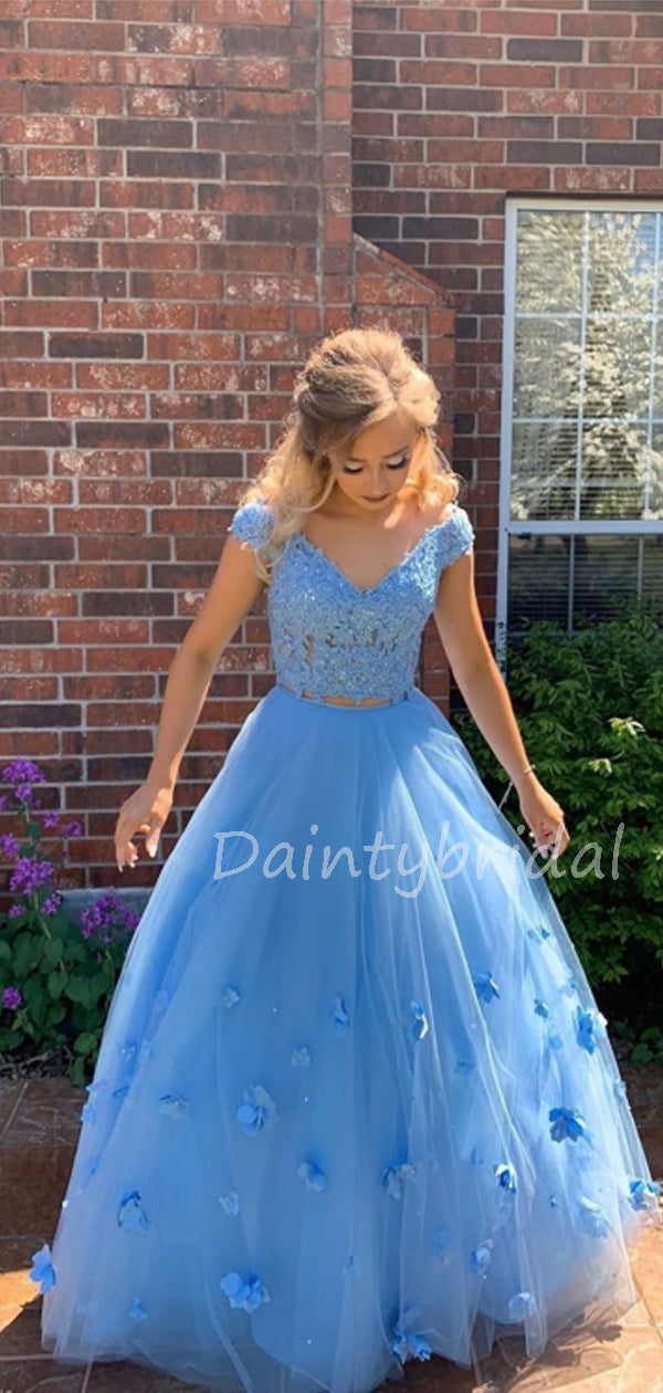 Charming Off-shoulder Floor-length Tulle Lace A-line Long Prom Dresses Evening Dresses.DB10602