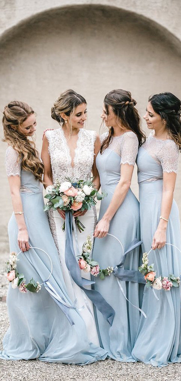 New Arrival Scoop Neck Chiffon Long Bridesmaid Dresses.DB10348