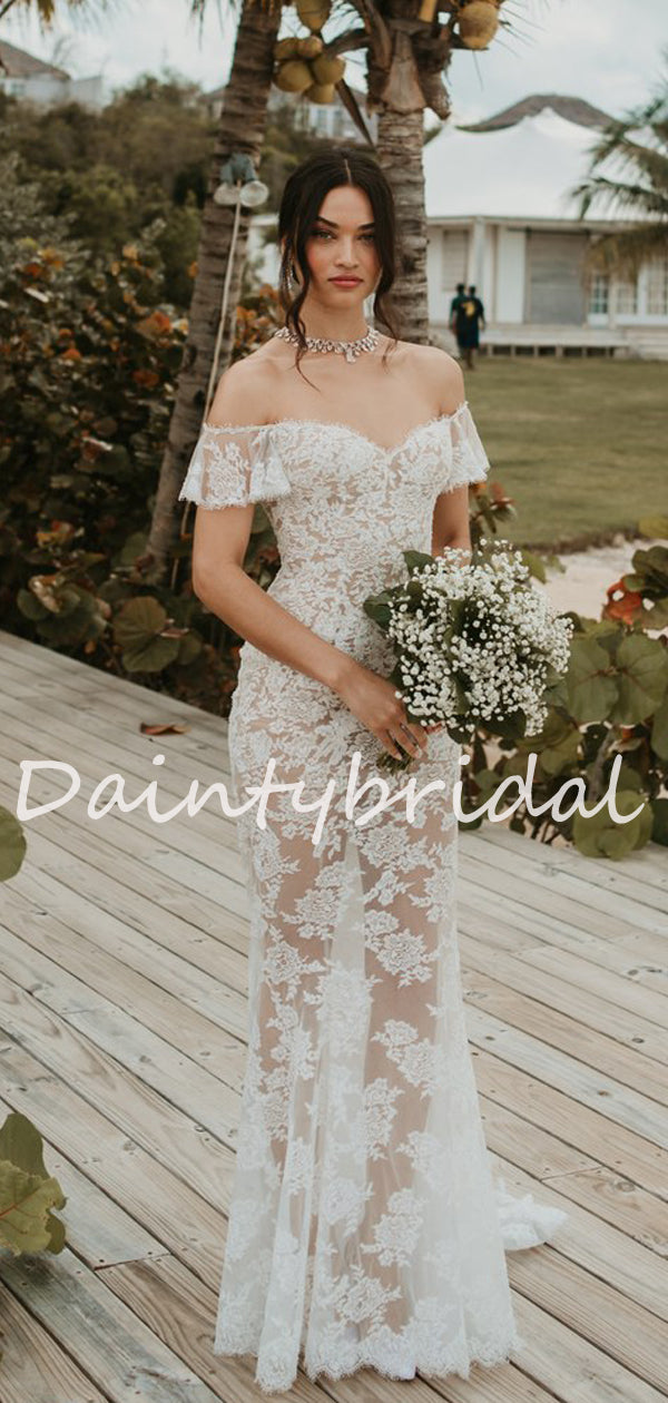 Simple Sexy Off-shoulder Mermaid Lace See-through Long Wedding Dresses Evening Dresses.DB10709