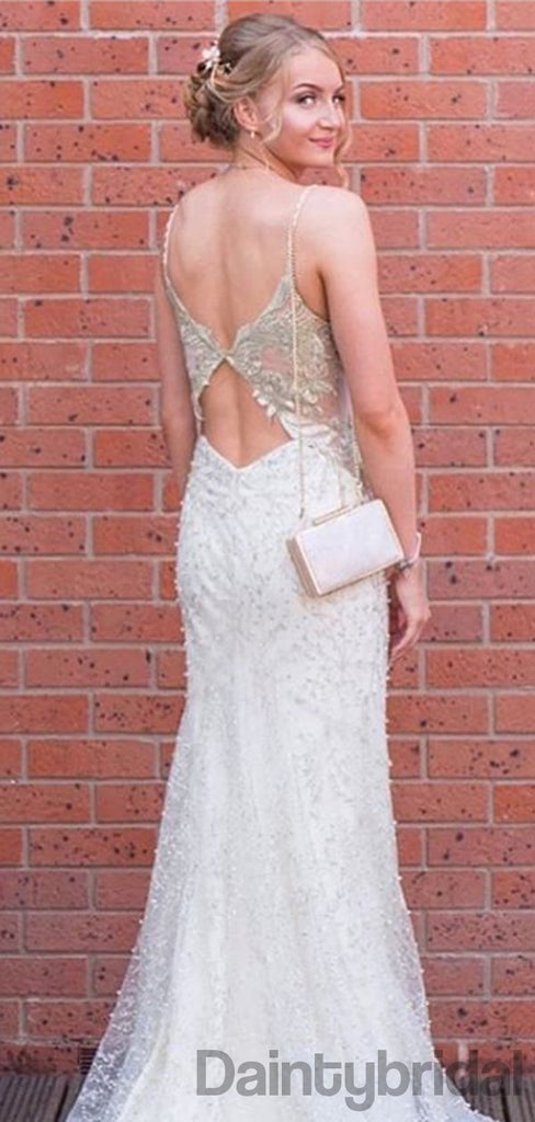 Sexy V-neck Mermaid Lace Long Prom Dresses Evening Dresses.DB10315