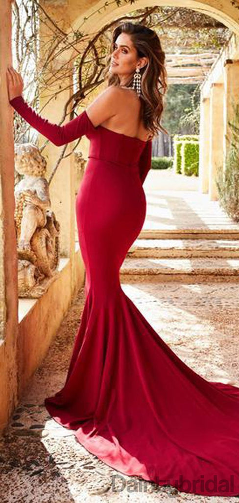 Sweetheart Off Shoulder Mermaid Long Sleeve Backless Sexy Jersey Prom Dresses.DB10188