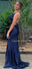 Charming V-neck Halter Side Slit Mermaid Long Prom Dresses Evening Dresses.DB10508