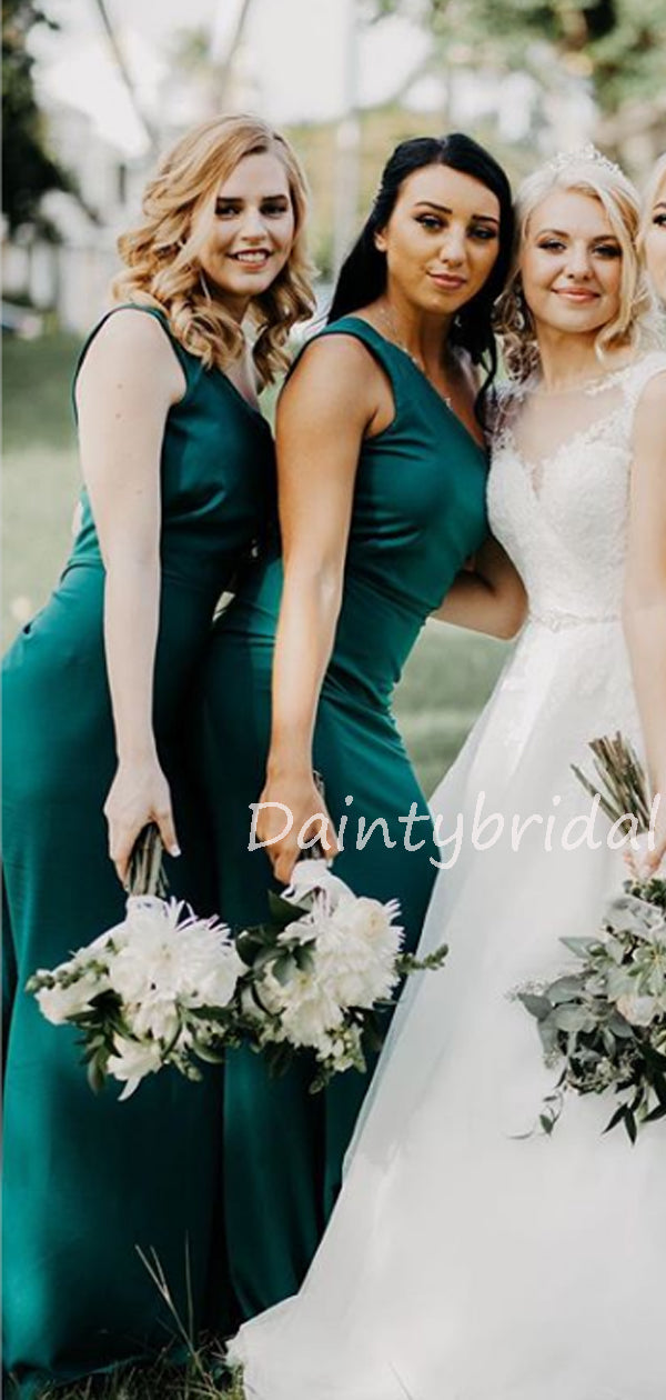 Charming One shoulder Satin Long Bridesmaid Dresses.DB10528