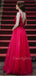 Sexy V-neck Tulle Sequin Long Evening Prom Dresses, Cheap Prom Dresses.DB10398