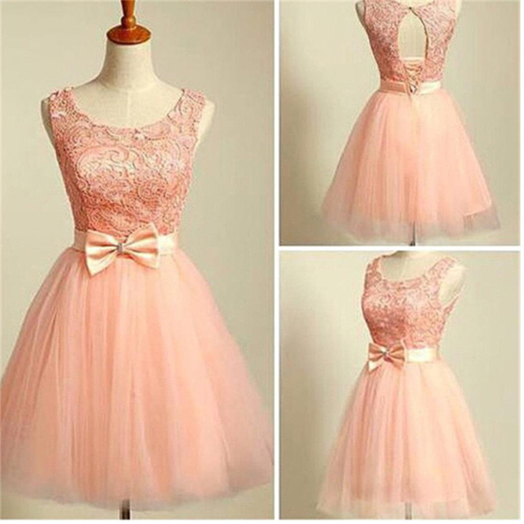 Modest Formal Peach Pink Lace Scoop Neckline Keyhole Back Bow Sash  Homecoming Prom Gowns Dress For Teens,BD0080