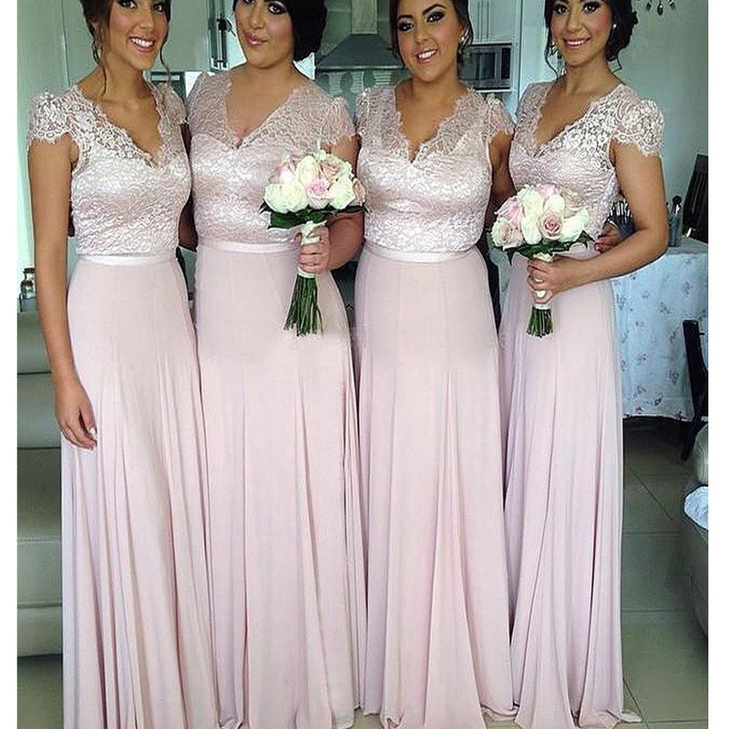 Elegant Clairvoyant Outfit Lace V-neck Cap Sleeve Floor Length Chiffon Column Wedding Party Bridesmaid Dresses, DB0088