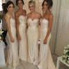 Elegant Sweetheart Strapless Sexy Mermaid Sparkly Beads Top Long Sweep Trailing Bridesmaid Dresses, WG81
