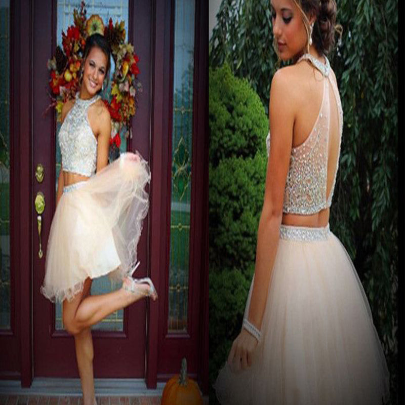 Two Pieces Bare-midriff Halter Keyhole Back Sparkly Clairvoyant Outfit Homecoming Prom Dress,BD0081