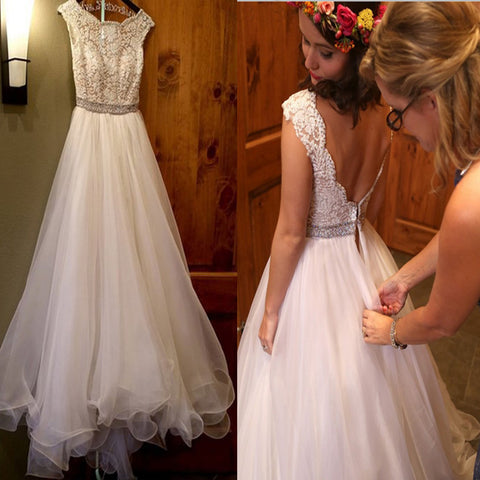 Vintage Summer Long A-line Cap Sleeve Deep V-back Lace Beads Orangza Wedding Party Dresses. DB0282