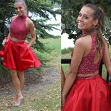 Short Two Pieces Bare-midriff Red Halter Keyhole Back  Beads Homecoming Prom Gown Dress,BD0083