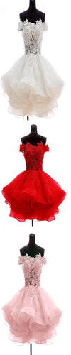 Lovely Junior A-line Off Shoulder Lace Appliques  Organza Mini Homecoming Prom Gowns Dress For Teens,BD0085