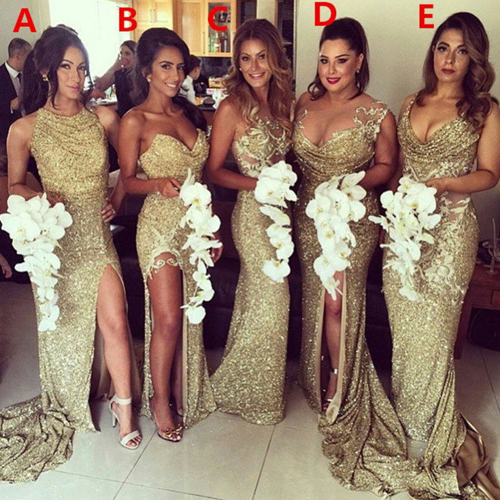 Sexy Unique Mismatched Sparkly Gold Sequin Side Split Chapel Trailing Long Wedding Party Bridesmaids Dresses , WG86