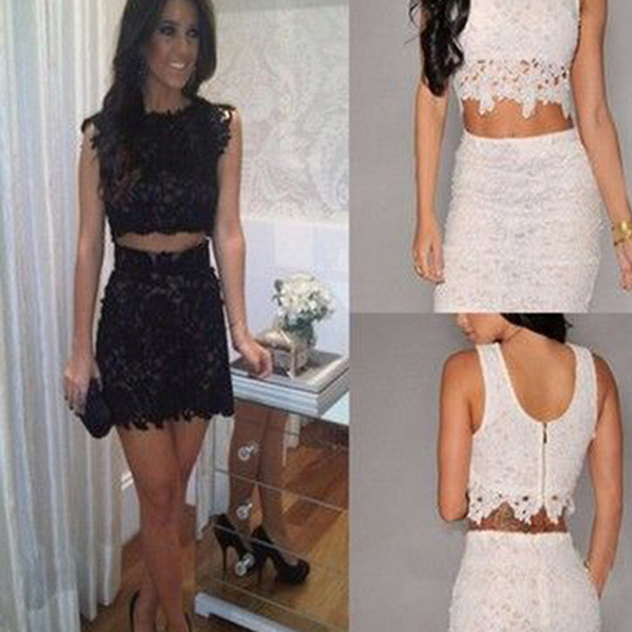 Cheap Fashion Two Pieces Sexy Bare-midriff Lace Tight Unique Style Scoop Back Homecoming Prom Dress,BD0087
