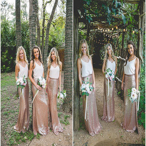2017 Long Mismatched Sequined Spaghetti Straps Country Bridesmaid Dress. DB055