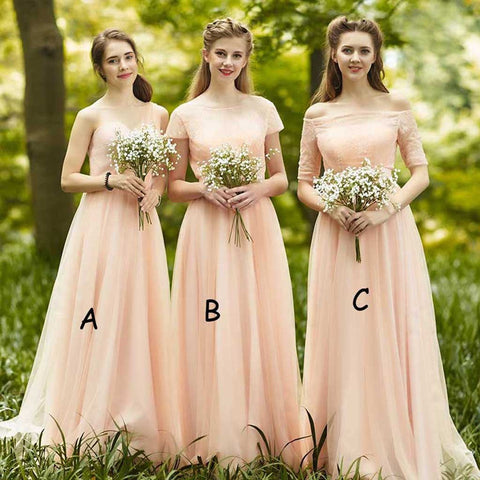 Vintage A-line Mismatched Sweetheart Chiffon Top Lace Short Sleeve Floor-length Cheap Bridesmaid Dresses, WG89