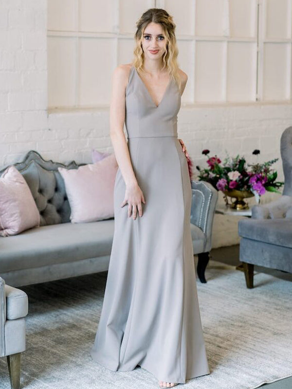 Sexy V-neck Mermaid Zipper Up Long Bridesmaid Dresses.DB10654