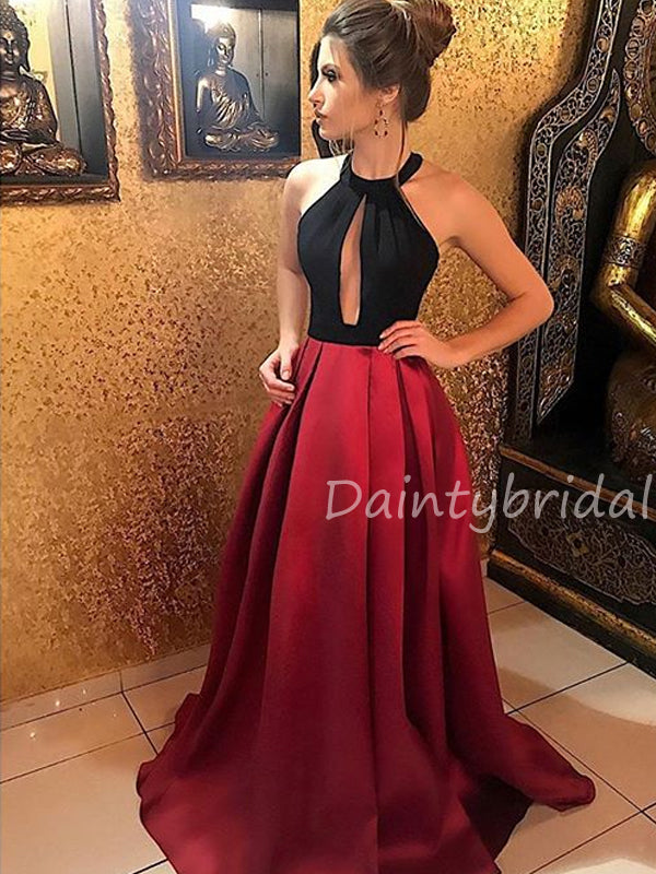 Charming Halter A-line Open Back Satin Long Prom Dresses Evening Dresses.DB10488
