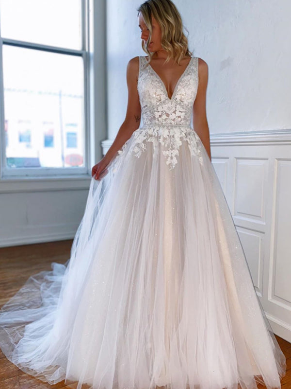 Gogerous V-neck Lace Tulle High-low Wonderful Wedding Dresses Evening Dresses.DB10619