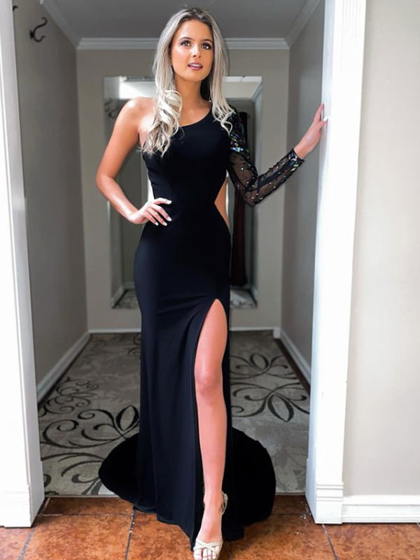 Mermaid One-shoulder Side Slit Long Sleeve Prom Dresses Evening Dresses.DB10822