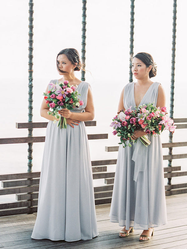 Gogerous Deep V-neck Chiffon Floor-length Long Bridesmaid Dresses.DB10633