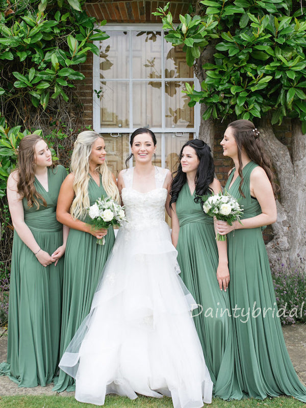 Elegant V-neck A-line Tulle Floor Length Long Bridesmaid Dresses.DB10228