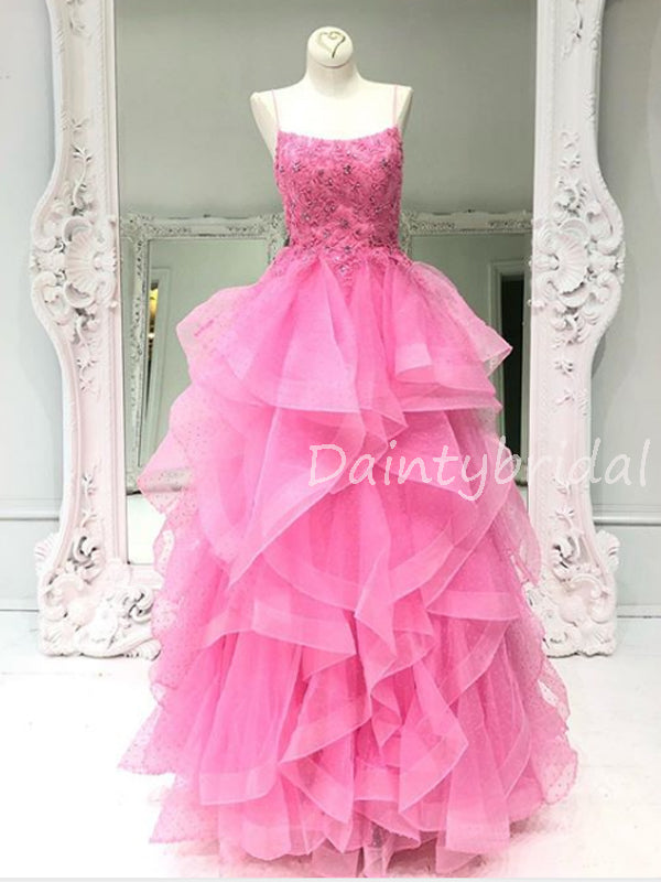 Charming Spaghetti Strap Tulle A-line Long Prom Dresses Evening Dresses.DB10568