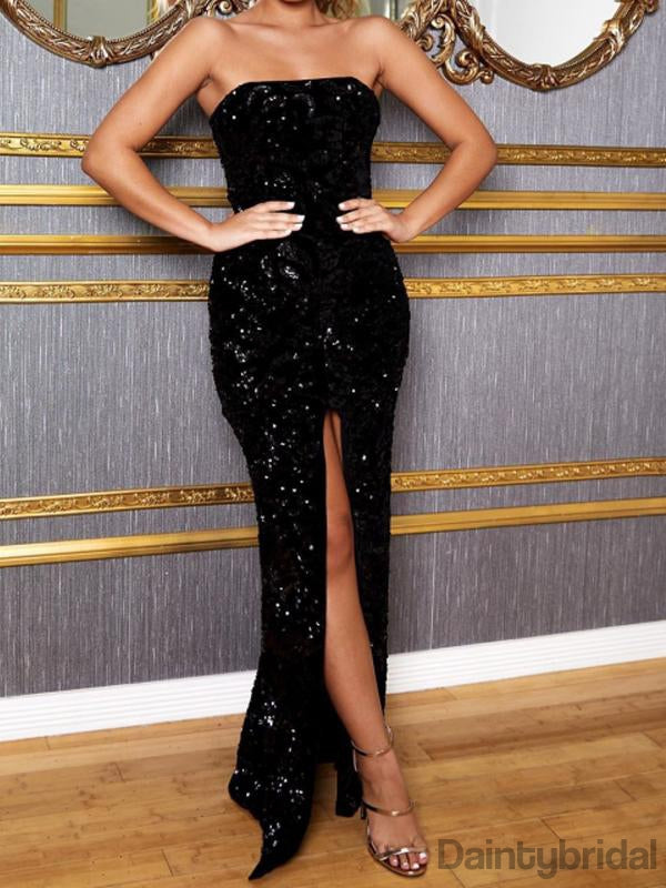 Sexy Side Slit Sequin Long Prom Dresses Evening Dresses.DB10324
