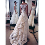 Chic Design  Lace Top Long A-line Unique Style Scoop Sleeve Wedding Party Dresses, WD0102