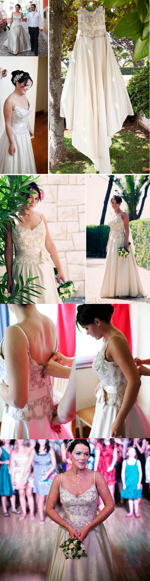 Vintage Spaghetti Strap Gorgeous Lace Sequins V-neck Charming A-line Wedding Dress,DB097