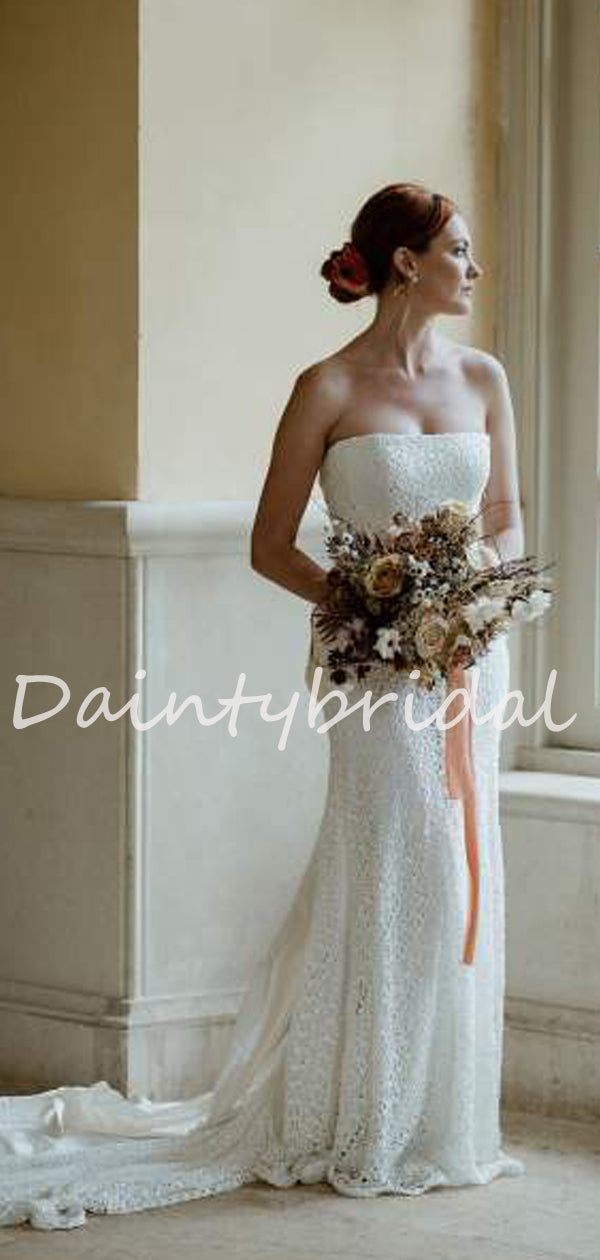 Simple Sexy Straight Mermaid Lace Long Wedding Dresses Evening Dresses.DB10708