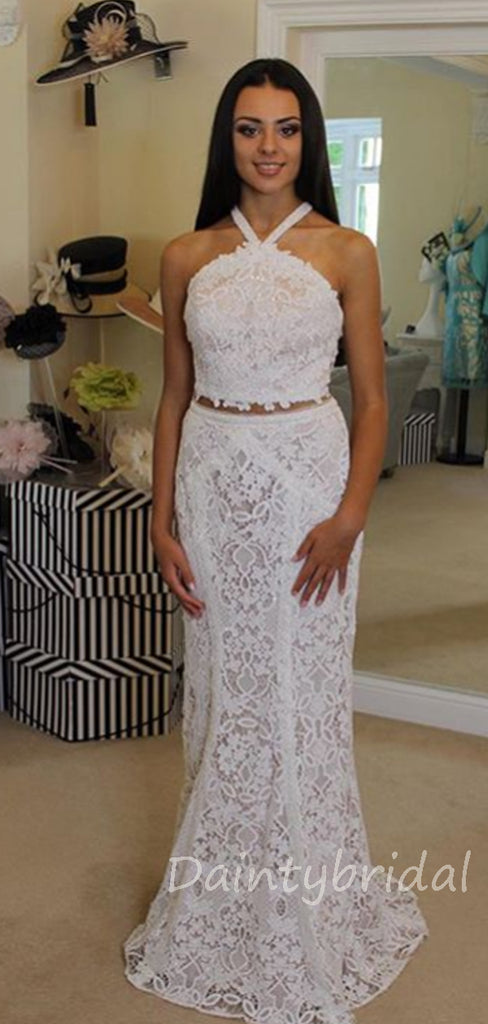 Affordable Lace Halter Two Piece Long Prom Dresses Evening Dresses.DB10379