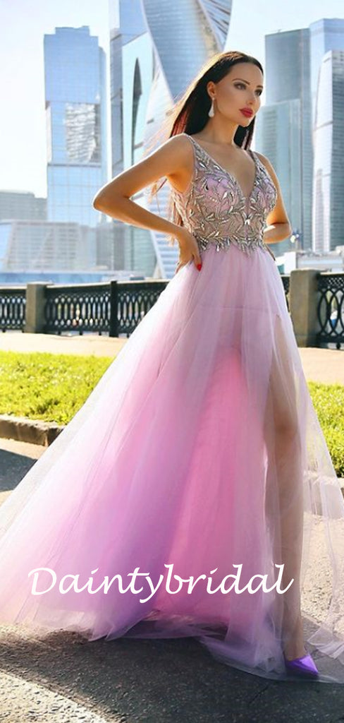 Simple V-neck Side Slit Tulle Prom Dresses Evening Dresses.DB10823