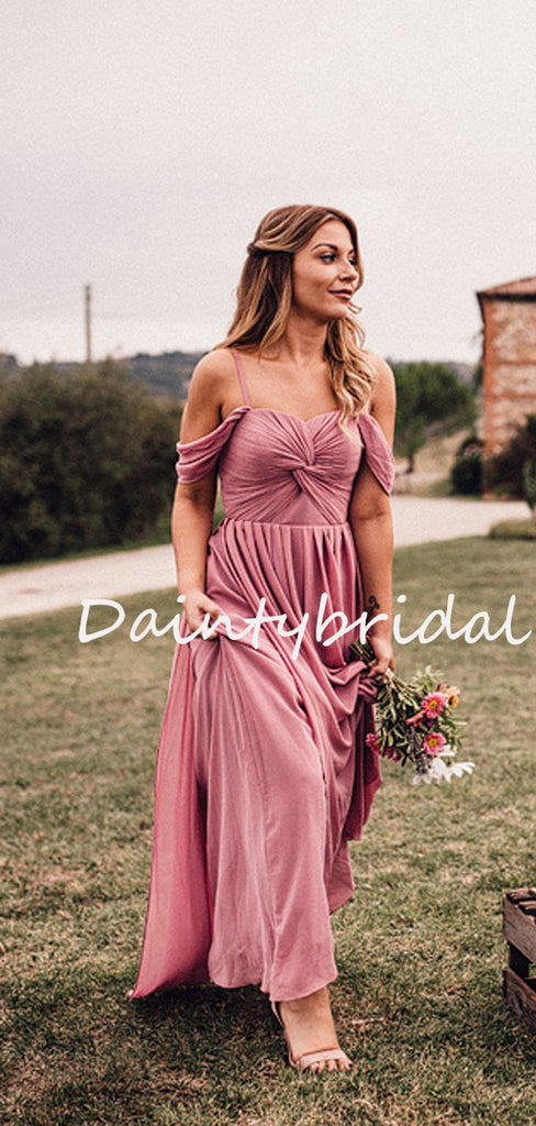 Charming Off-shoulder Spaghetti Strap Long Bridesmaid Dresses.DB10753