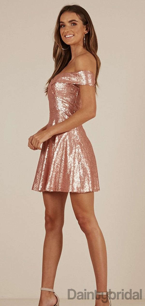 Off-shoulder Sequin A-line Bridesmaid Dresses.BD10178