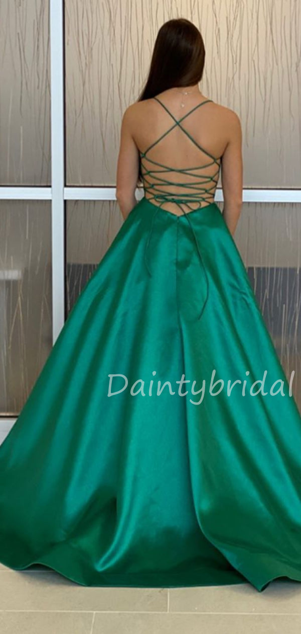 Charming V-neck A-line Satin Long Prom Dresses Evening Dresses.DB10489