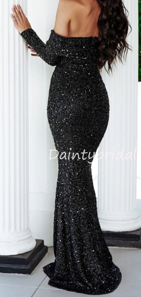 Charming Straight Long Sleeve Mermaid Sequin Long Evening Dresses Prom Dresses.DB10519