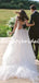 Pretty V-neck Simple Tulle A-line Open Back Long Wedding Dresses, DB10738