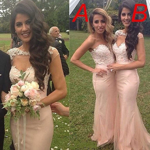 Sexy Mermaid Mismatched Sweetheart Cap Sleeve Blush Pink Lace Top Yarn Unique Bridesmaid Dresses, WG92