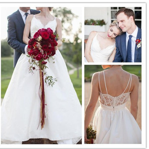 Elegant  A-line Spaghetti Strap White Lace Top V-neck Button Back Gorgeous Wedding Dresses, WD0096