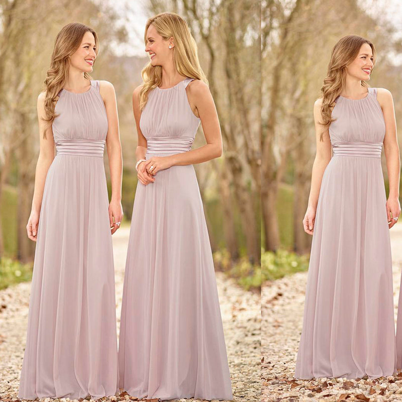 Round Neck Pleats Sleeveless A-line Elegant Country Simple Cheap Chiffon Floor Length Bridesmaid Dress,DB1001