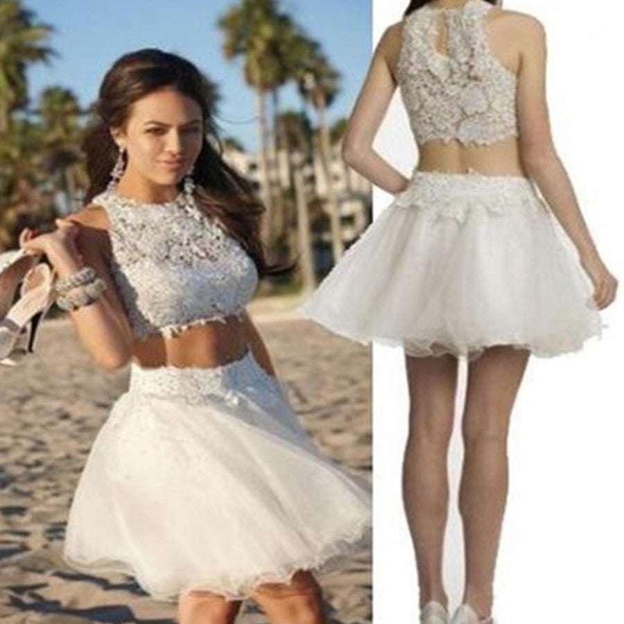 Two Pieces Sleeveless White Lace High Neckline Bare-midriff  Mini Tulle Skirt  Homecoming Dress,BD0093