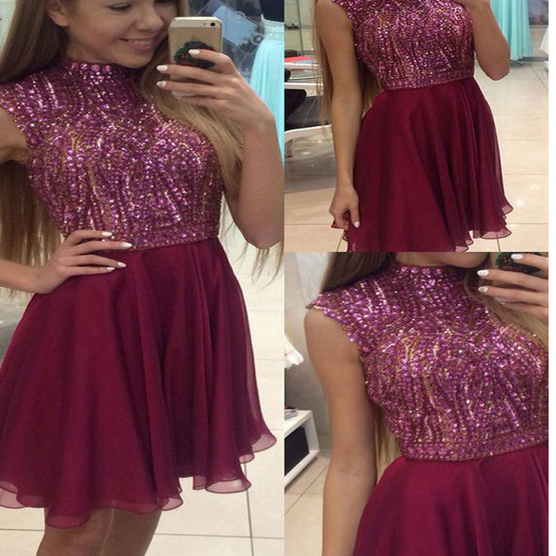 Burgundy high neck sparkly freshman charming lovely cocktail homecoming prom gown dress,BD0014