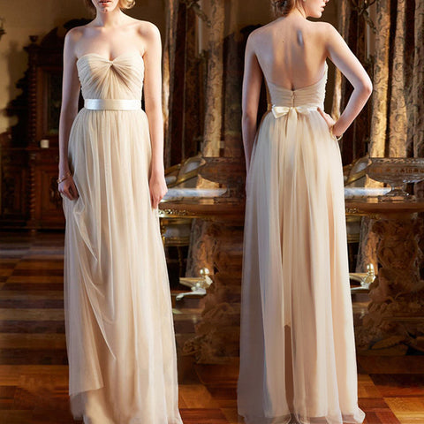 2017 Sweetheart A-line Charming Elegant Long Simple Bridesmaid Dress. BD1002