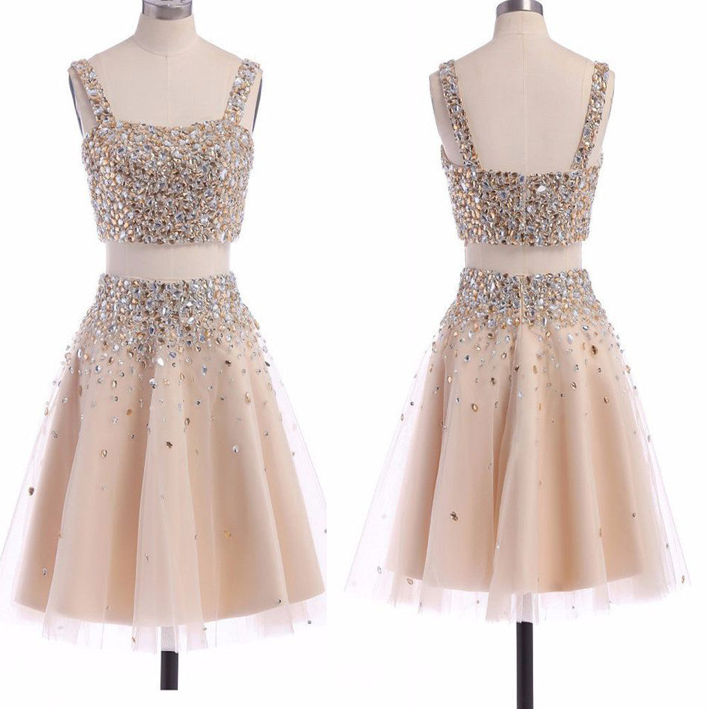 Two Pieces Champagne Spaghetti Strap Sparkly Beads Square Neck Homecoming Prom Gown Dress,BD0098