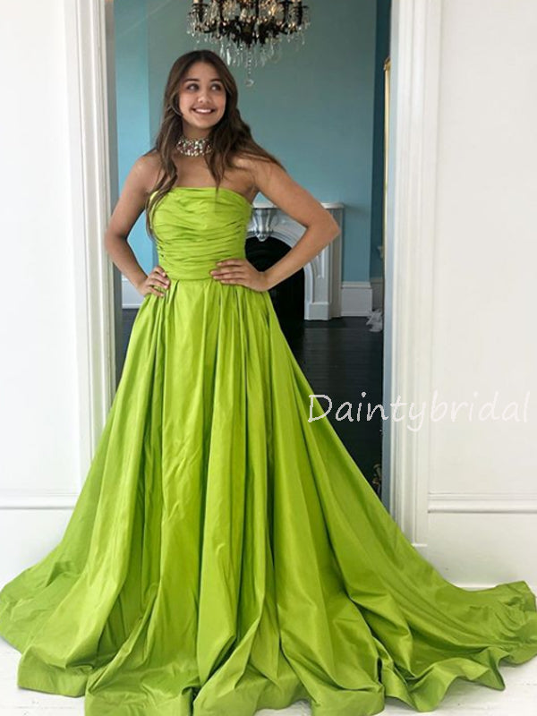 Charming Straight Satin A-line Long Prom Dresses Evening Dresses.DB10569