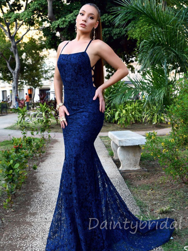 Sexy Spaghetti Strap Mermaid Lace Long Prom Dresses Evening Dresses.DB10369